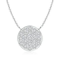 Composite Round Diamond Disc Pendant Necklace