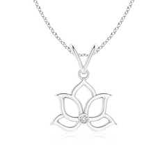 Bezel-Set Diamond Lotus Flower Pendant Necklace