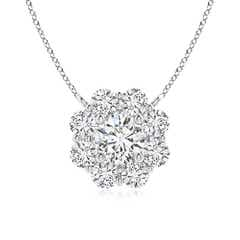 Cluster Diamond Circle Pendant Necklace