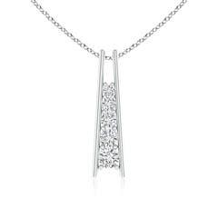 Five Stone Round Diamond Journey Ladder Pendant Necklace