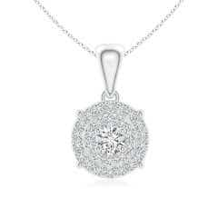 Circle Dangling Diamond Cluster Pendant Necklace