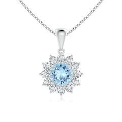 Round Aquamarine Flower Pendant with Diamond Halo