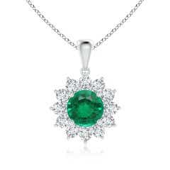 Round GIA Certified Emerald Flower Pendant with Diamond Halo