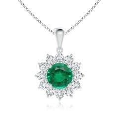 Emerald and Diamond Flower Halo Pendant (GIA Certified Emerald)