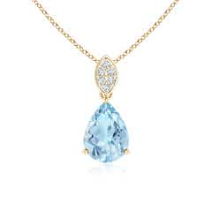 Pear-Shaped Aquamarine Pendant with Leaf Bale