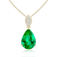 Pear-Shaped GIA Certified Emerald Pendant with Leaf Bale
