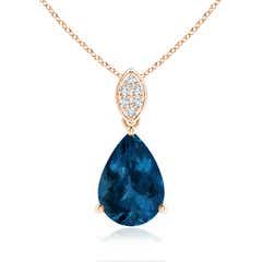 Angara London Blue Topaz and Diamond Trillium Flower Pendant