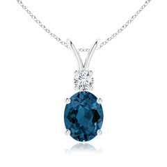 V-Bale Oval London Blue Topaz Solitaire Pendant with Diamond