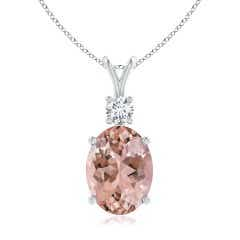 Oval Morganite Solitaire V-Bale Pendant with Diamond