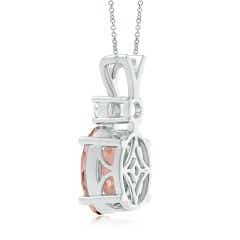 Toggle V-Bale Oval Morganite Solitaire Pendant with Diamond
