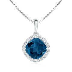 Sideways Cushion London Blue Topaz and Diamond Halo Pendant