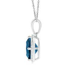 Toggle Sideways Cushion London Blue Topaz and Diamond Halo Pendant