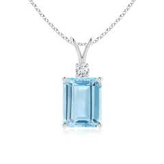 Prong Set Emerald Cut Aquamarine and Round Diamond V-Bale Solitaire Pendant