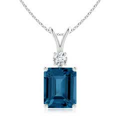 Emerald-Cut London Blue Topaz Solitaire Pendant with Diamond
