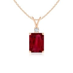 Emerald-Cut GIA Certified Ruby Solitaire Pendant with Diamond