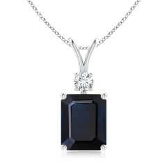Emerald-Cut GIA Certified Sapphire Pendant with Diamond