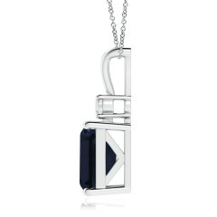 Toggle Emerald-Cut GIA Certified Sapphire Pendant with Diamond