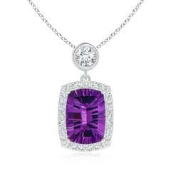 GIA Certified Cushion Amethyst Halo Pendant with Diamonds