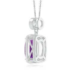 Toggle GIA Certified Cushion Amethyst Halo Pendant with Diamonds