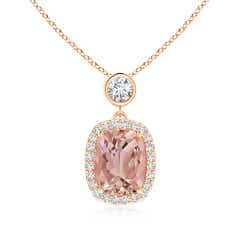 Dangling Cushion Morganite and Diamond Halo Pendant