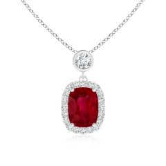 GIA Certified Cushion Ruby Halo Pendant with Diamonds