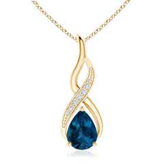 London Blue Topaz Infinity Swirl Pendant with Diamonds