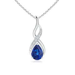 Infinity Solitaire Pear Blue Sapphire Drop Pendant