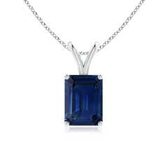 Emerald-Cut Blue Sapphire Solitaire Pendant with V-Bale
