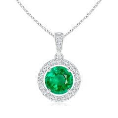 Floating Emerald Pendant with Diamond Halo