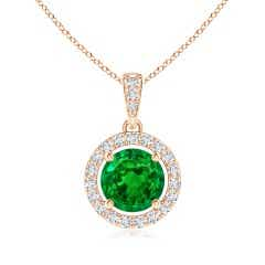 GIA Certified Floating Emerald Pendant with Diamond Halo