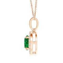 Toggle GIA Certified Floating Emerald Pendant with Diamond Halo