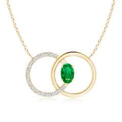 Emerald Interlocking Circle Necklace with Diamond Accents