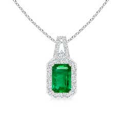 Emerald-Cut Emerald and Diamond Frame Pendant with Prong-Set