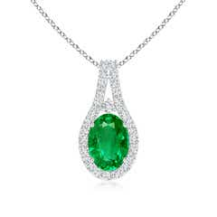 Classic Oval Emerald and Diamond Halo Pendant with Prong-Set
