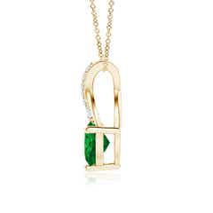 Toggle Solitaire Heart Emerald Pendant with Twisted Diamond Bale