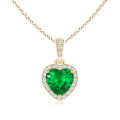 Prong-Set Heart Shaped Emerald Pendant with Diamond Halo
