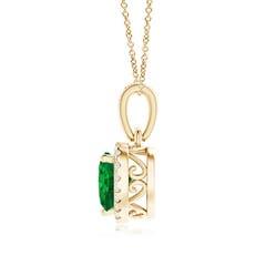 Toggle Heart Emerald Pendant with Diamond Halo