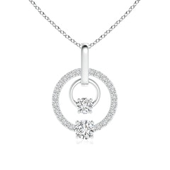 Double Diamond Two Circle Pendant Necklace
