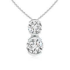 Semi Bezel-Set Two Stone Diamond Pendant