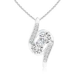 Double Diamond Bypass Pendant Necklace