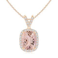 Cushion Morganite Halo V-Bale Pendant with Diamonds