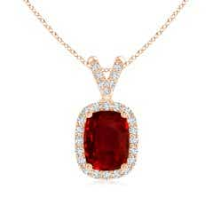 GIA Certified Cushion Ruby Halo V-Bale Pendant with Diamonds