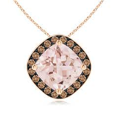 Sideways Cushion Morganite Halo Pendant with Coffee Diamonds