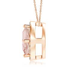 Toggle Sideways Cushion Morganite Halo Pendant with Coffee Diamonds