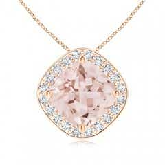 Sideways Cushion Morganite Halo Pendant with Diamonds