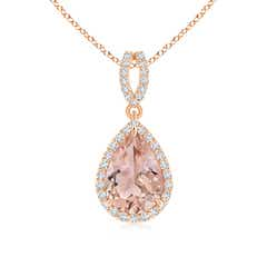 Vintage Inspired Pear Morganite Halo Pendant with Diamond Accents