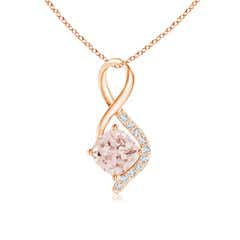 Infinity Twist Cushion-Cut Morganite Pendant with Diamond Accents