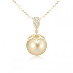 Angara Golden South Sea Cultured Pearl Horseshoe Pendant jSB4y2qMg