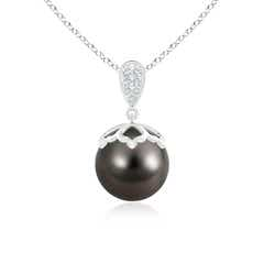 Ball Tahitian Cultured Pearl Solitaire Pendant with Studded Pear Motifs