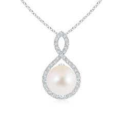 Angara Freshwater Cultured Pearl Drop Pendant with Diamond Clusters tMrEo